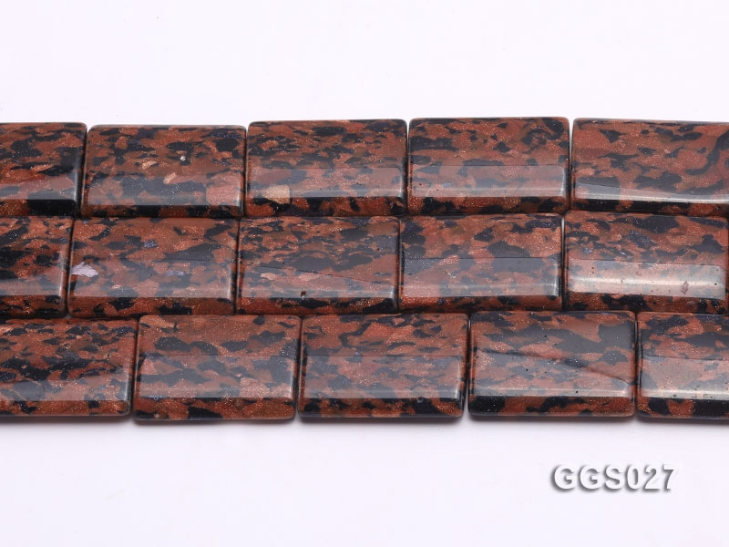 Wholesale 25x35mm Rectangular Goldstone Pieces String