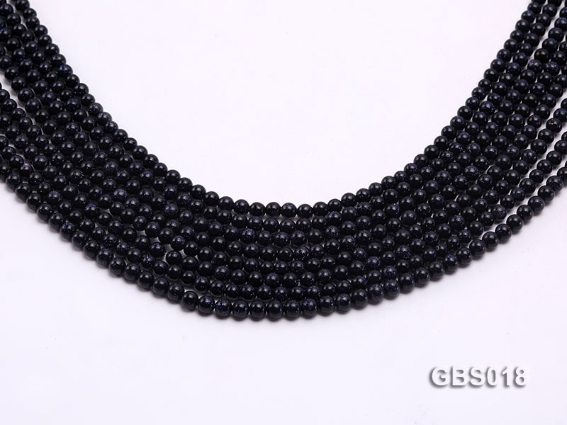 Wholesale 4mm Round Blue Sandstone Beads Loose String