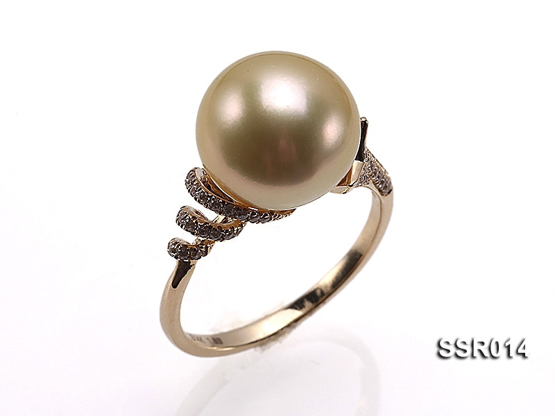 AAA 11mm Shiny Golden South Sea Pearl Ring