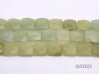 Wholesale 20mm Square Green Faceted Prehnite Pieces Loose String