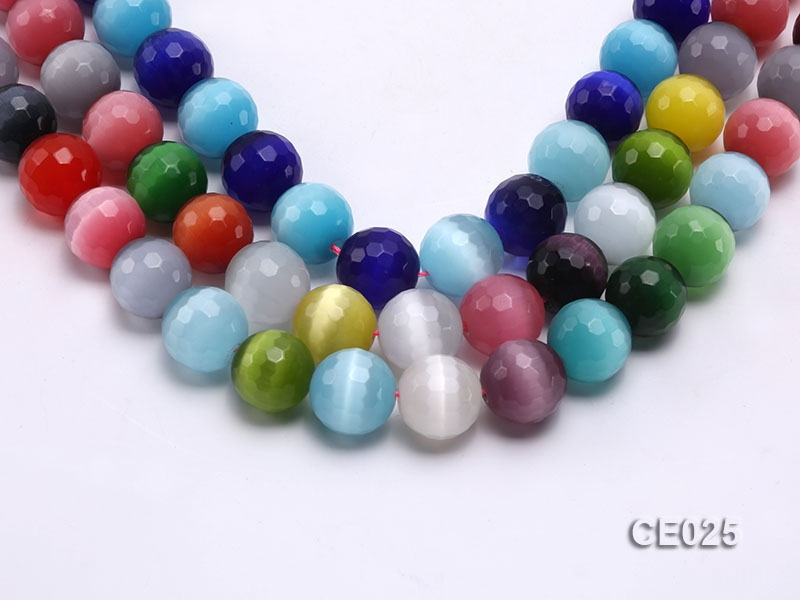 Wholesale 15.5mm Round Colorful Faceted Cat's Eye Beads Loose String