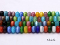 Wholesale 8x12mm Flatly Round Colorful Cat's Eye Beads Loose String