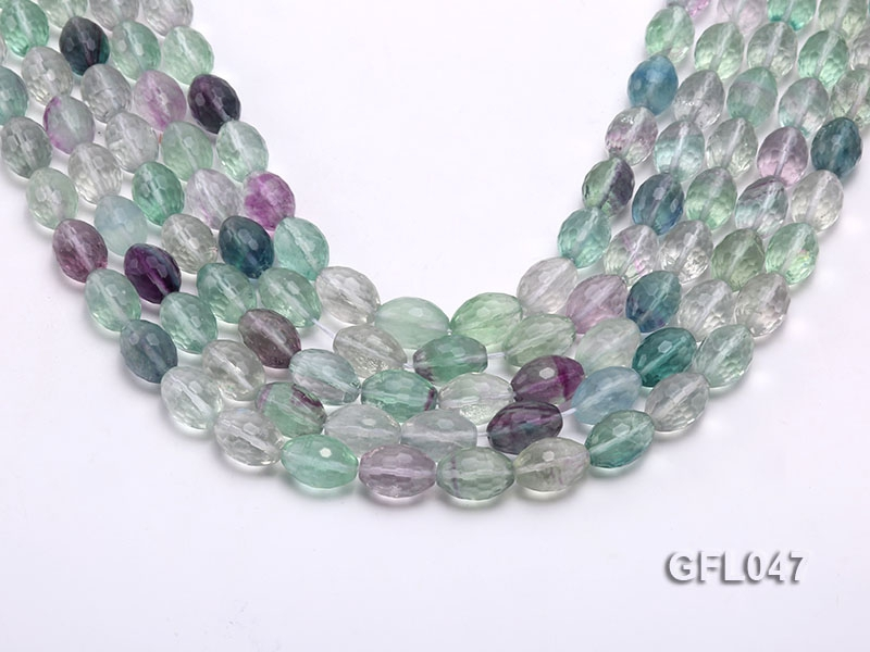 Wholesale 10x14mm Oval Multi-color Faceted Fluorite Beads Loose String