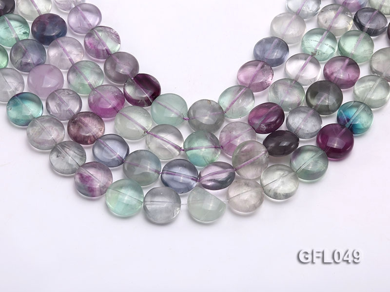 Wholesale 15mm Flatly Round Colorful Fluorite Beads Loose String