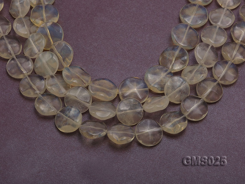 Wholesale 16mm Button-shaped Light-yellow Moonstone Beads Loose String