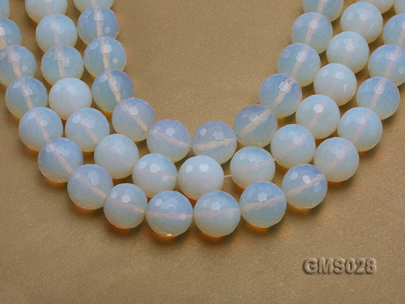 Wholesale 19m Round Milky Faceted Moonstone Beads Loose String