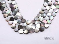 Wholesale 13x13mm Drop-shaped Black Seashell Pieces Loose String