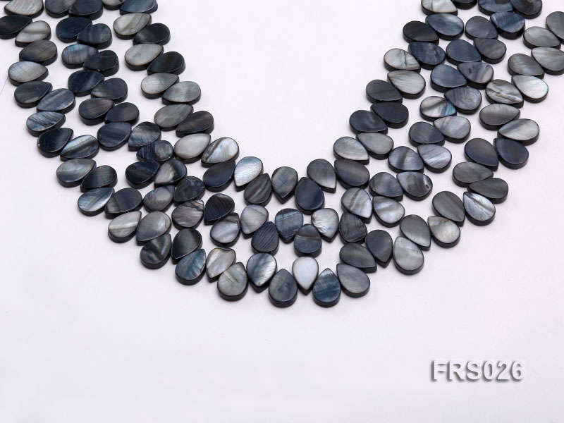 Wholesale 9x13mm Drop-shaped Grey Freshwater shell Pieces Loose String
