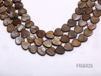 Wholesale 15mm Heart-shaped Brown Freshwater shell Pieces Loose String