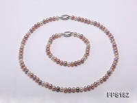 6.5-7mm Multi-color Flat Freshwater Pearl Necklace and Bracelet Set