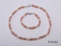 7-7.5mm Multi-color Flat Freshwater Pearl Necklace and Bracelet Set