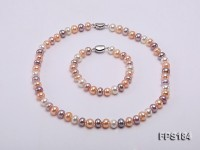 8.5-9mm Multi-color Flat Freshwater Pearl Necklace and Bracelet Set