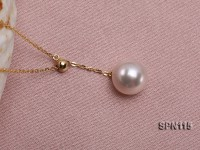 Selected 8.5mm White Round Natural Akoya Pearl Pendant Necklace with 14k Gold Silver Chain