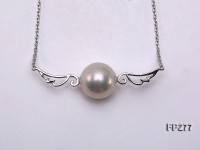 14.5mm White Round Edison Pearl Pendant with Sterling Silver Chain