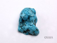 Stylish 37x55mm Blue Turquoise Craftwork Carved with a tortoise