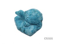 Stylish 57x57mm Blue Turquoise Craftwork Carved with a tortoise