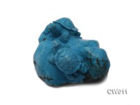 Stylish 65x75mm Blue Turquoise Craftwork Carved with a tortoise