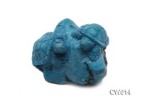 Stylish 55x70mm Blue Turquoise Craftwork Carved with Two turtles