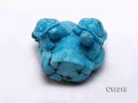 Stylish 55x60mm Blue Turquoise Craftwork Carved with Two turtles