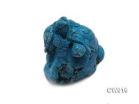 Stylish 34x57mm Blue Turquoise Craftwork Carved with Two turtles
