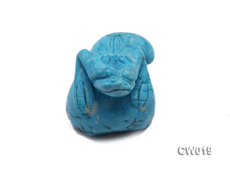 Stylish 29x40mm Blue Turquoise Craftwork Carved with a toad