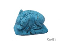 Stylish 38x50mm Blue Turquoise Craftwork Carved with a toad