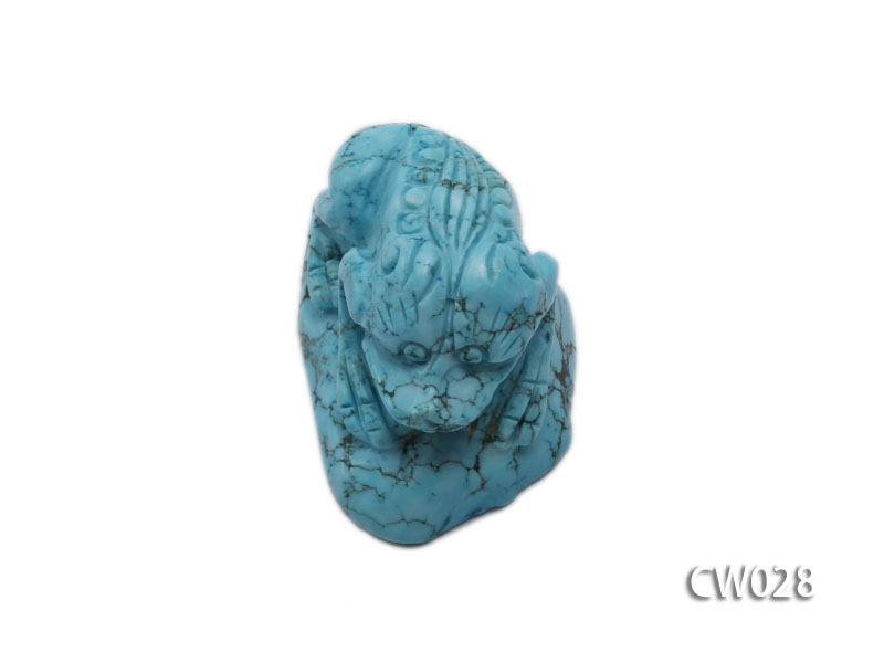 Stylish 50x30mm Blue Turquoise Craftwork Carved with a toad