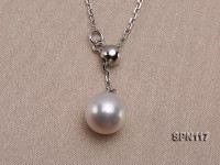 Selected 8.5mm White Round Natural Akoya Pearl Pendant Necklace with Silver Chain