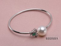 18k Gold Bracelet with White South Sea Pearl, Emerald and Diamonds