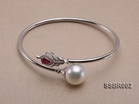 18k Gold Bracelet with White South Sea Pearl, Ruby and Diamonds