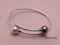 18k Gold Bracelet with Golden South Sea Pearl and Black Tahitian Pearl