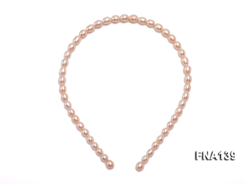 7x9mm Pink Oval Cultured Freshwater Pearl Hairband