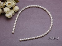 7.5×9.5mm White Oval Cultured Freshwater Pearl Hairband