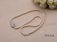 Classic 5x6mm  White Flat Cultured Freshwater Pearl Necklace