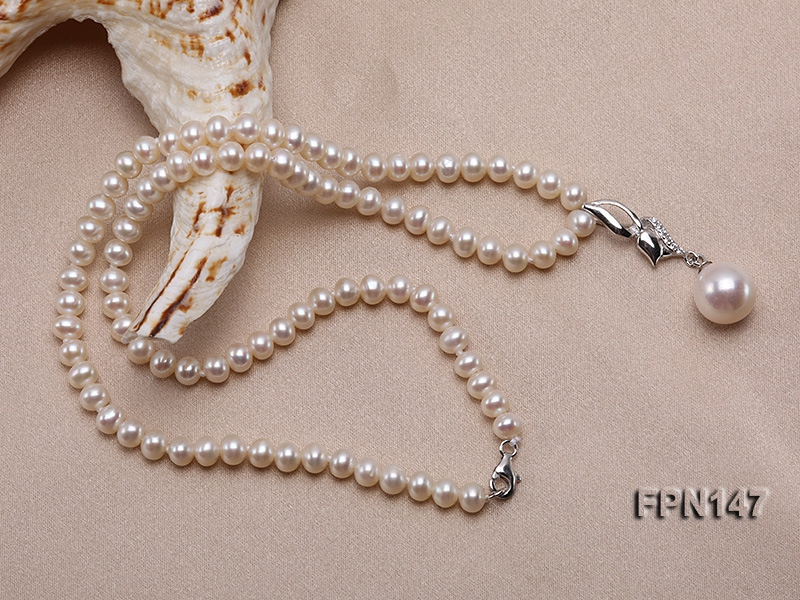 Classic 5x6mm AAA  Flat Cultured Freshwater Pearl Necklace
