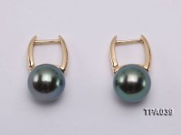 Gorgeous 9mm Peacock Tahitian Pearl Earring with 14k Gold