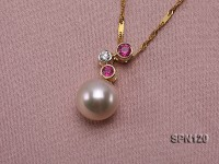 9mm White Round Natural Akoya Pearl Pendant