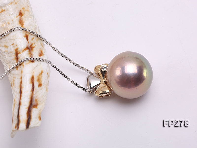 14.5mm Perfectly Round Lavender Edison Pearl Pendant with 14K Gold Pendant Bail