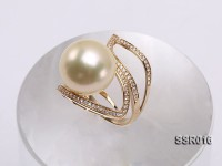 Luxury 14.5mm Golden South Sea Pearl Ring in 14K Gold
