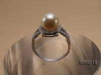 9.5mm Golden South Sea Pearl Silver Ring