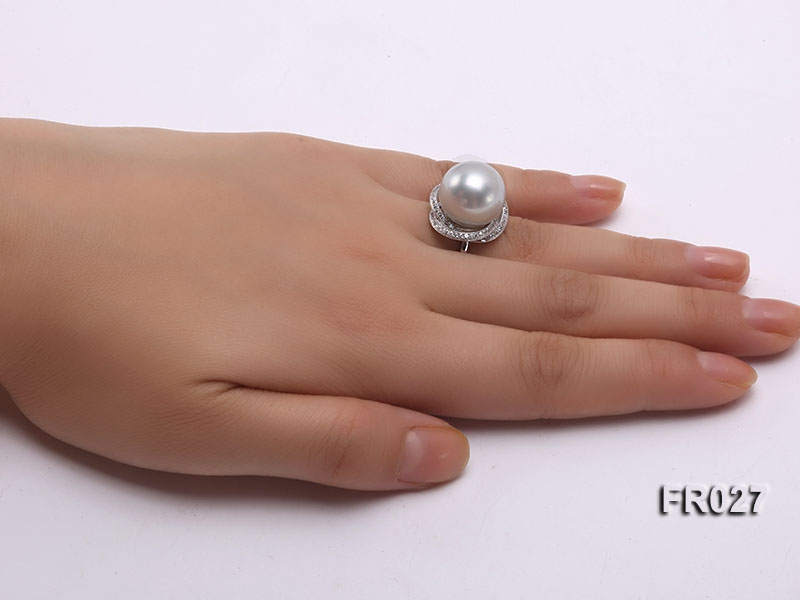 14mm white round Edison pearl ring