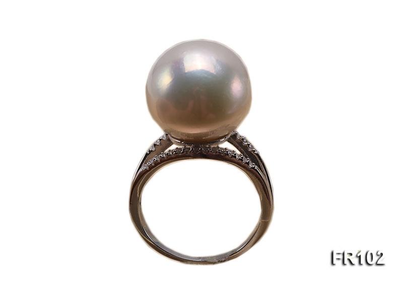 15.5mm White Round Edison Pearl Ring