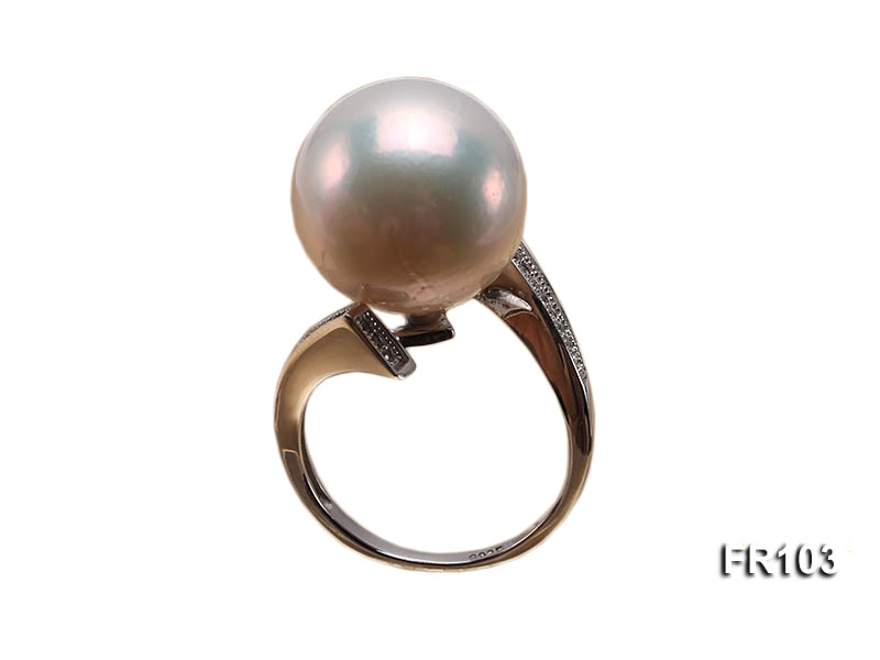 15.5mm white round Edison pearl ring