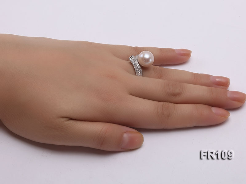 11.5mm White Round Edison Pearl Ring