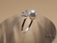 7.5mm White Round Akoya Pearl Ring