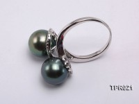 10mm Peacock Tahitian Pearl Silver Ring