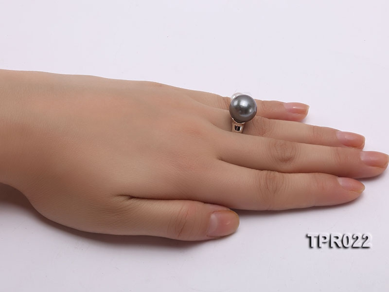 13mm Black Tahitian Pearl Silver Ring