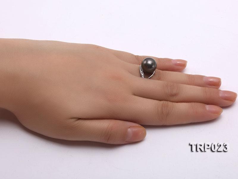 12mm Black Tahitian Pearl Silver Ring
