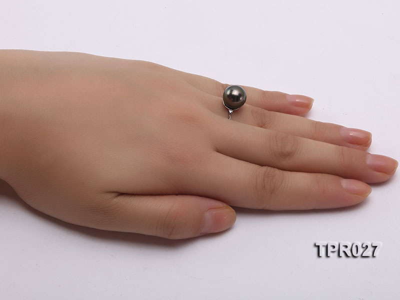 10mm Black Tahitian Pearl Silver Ring