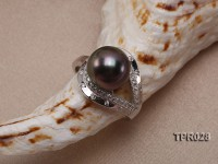 10.5mm Black Tahitian Pearl Silver Ring